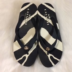 Coach Linley zebra print rubber flip flop sandals